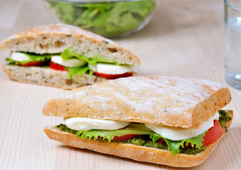 fresh sandwich with mozzarella, tomatoes and pesto