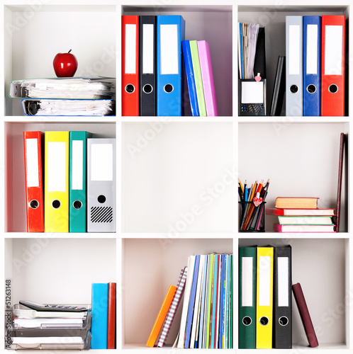Folders on shelves