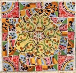 Park mosaic Gyuell (Barcelona, Catalonia, Spain).