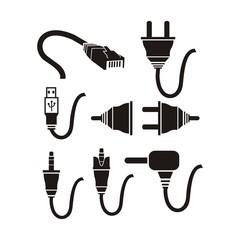 plug cable icons sets