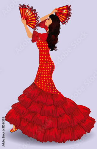 Flamenco dancer. spanish girl. vector illustration