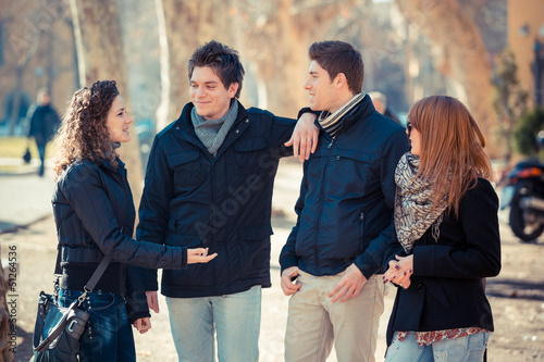 Group of Friends Talking Outside