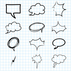 hand drawing speech bubbles on grid graph paper