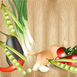 Background with realistic vector vegetables on wooden table