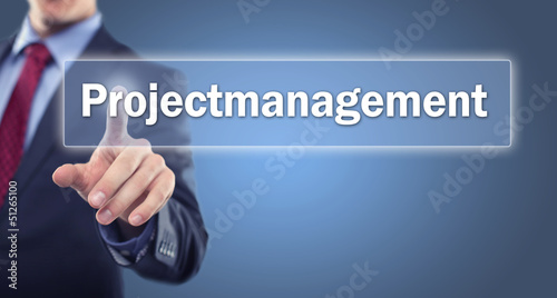 Man touching Display Projectmanagement