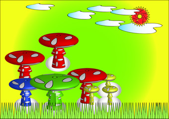 Mushrooms vector illustrations