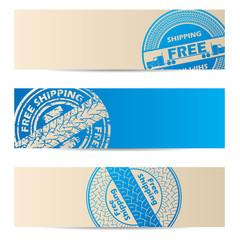 Banner design with blue seals