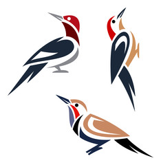 Stylized woodpeckers