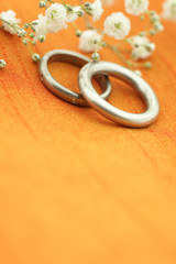Wedding with orange silk background