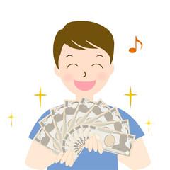 男性 一万円札 お小遣い 大金