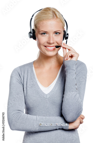 Woman-operator speaking on the microphone of the earphone
