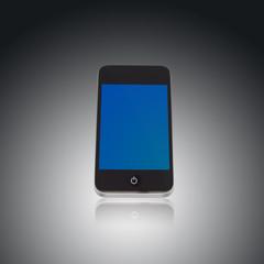 Smartphone freigestellt mir blauem Display