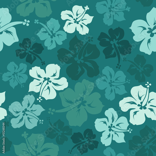 Floral seamless pattern of hibiscus