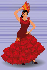 Spanish flamenco dancer girl with fan, vector