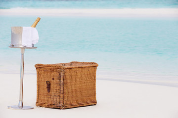 Luxury Champagne Picnic On Tropical Beach