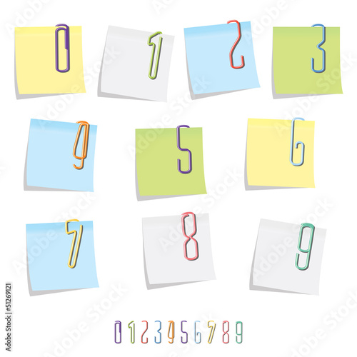 Paperclip Number Set on Post It Notes