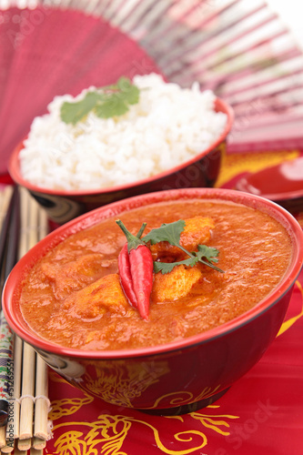bowl of curry chicken and rice