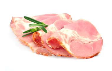 Sliced pork bacon with rosemary