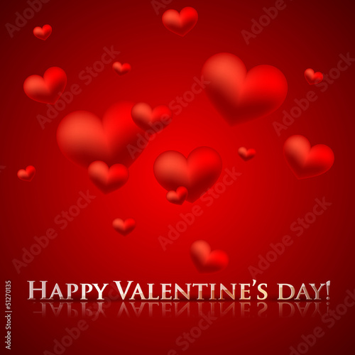 happy valentine's day. holiday background with red hearts
