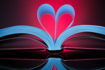 sign of heart with book pages on the red