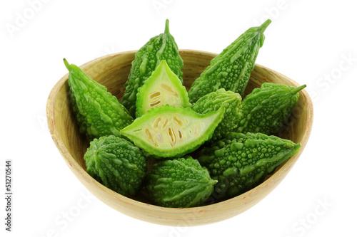A Bowl of fresh green Bitter Cucumber (Balsum Pear)
