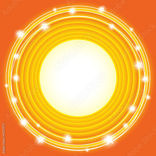 orange background with circles and stars