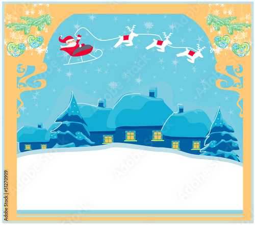 Santa and winter landscape