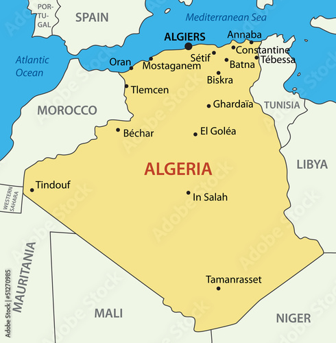 The People's Democratic Republic of Algeria - vector map
