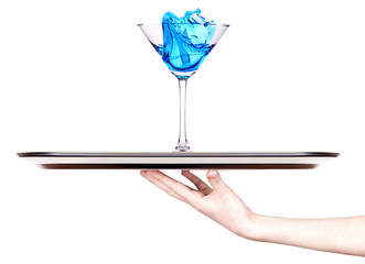 Blue Curacao  with splash on a tray with hand