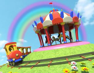cavalli trenino ed arcobaleno