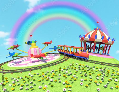 Deurstickers Regenboog parco divertimenti con arcobaleno