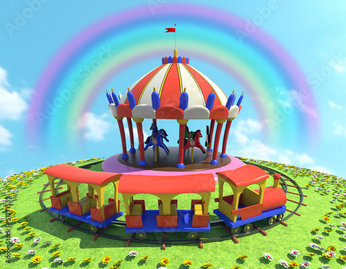 Deurstickers Regenboog cavalli trenino ed arcobaleno 2