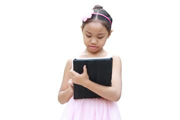 Ballet girl use tablet
