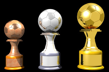 Bronze, silver and gold soccer trophies (3D)