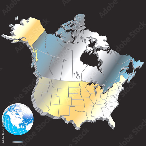 Metal North American Map