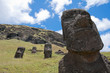 Moais at Rano Raraku volcano, Easter island (Chile)