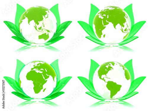 Grüne Erde Konzept 3D, Alle Kontinente