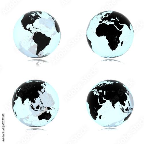 Planet Erde aus Glas 3D Ale Kontinente