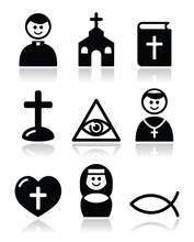 Religion, icônes vectorielles de l'église catholique, énoncés