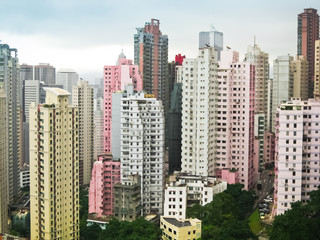 Skycrapers pink and white in Hong Kong