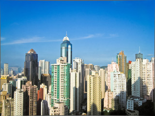 Skyscrapers in Hong Kong with sun 2