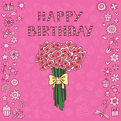 Pink birthday card with bouquet of hearts