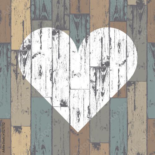 White heart on wooden background. Vector, EPS10 - 51275712