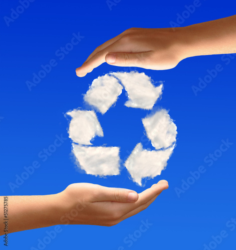 Recycle sign from clouds in the hands