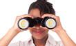 Young black / african american business woman using binoculars
