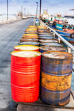 Oil drums on jetty,chonburi in thailand