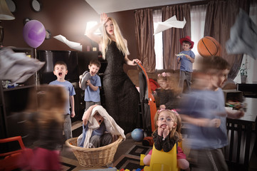 Funny Housewife Cleanning House with Children