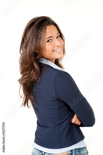 closeup of cute girl, isolated on white background, back view