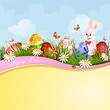 Easter greeting card with cute bunny and Easter eggs