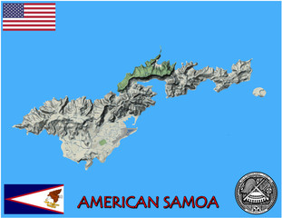 American Samoa oceania pacific national emblem map symbol motto